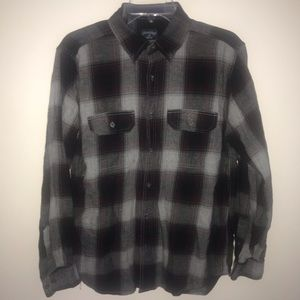 Faded Glory Plaid Button Down, Blk/Gry/Burg, M